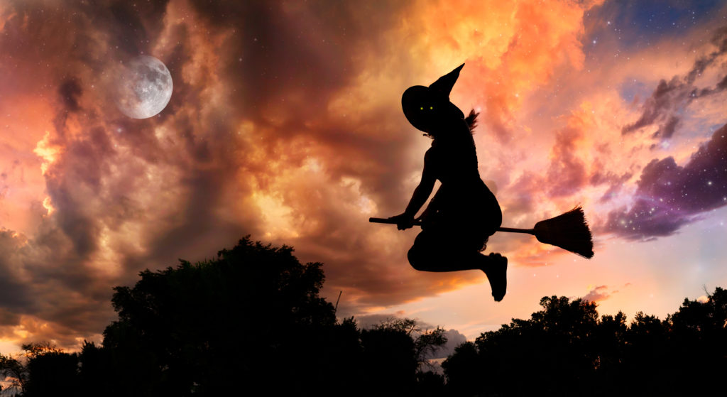 salem witch on broomstick