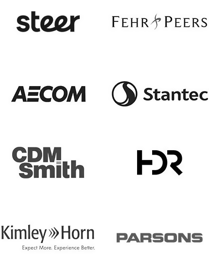 Consulting Firm Clients - Steer, AECOM, CDM Smith, Kimley Horn, Fehr Peers, Stantec, HDR, Parsons