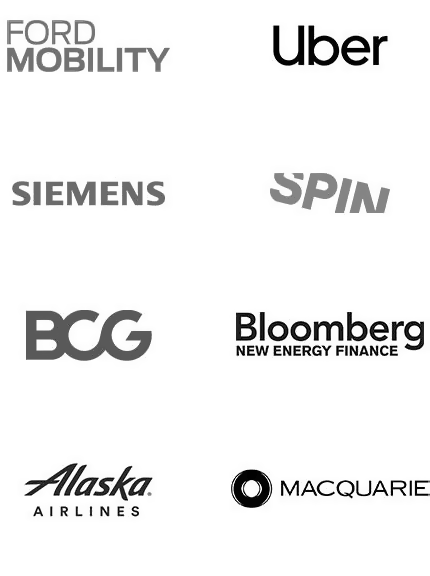 Enterprise Clients - Ford Mobility, Siemens, BCG, Alaska Airlines, Uber, Spin, Bloomberg, Macquarie