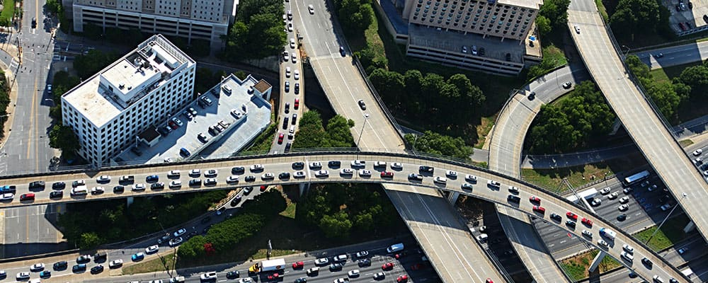 overhead view of busy city highway